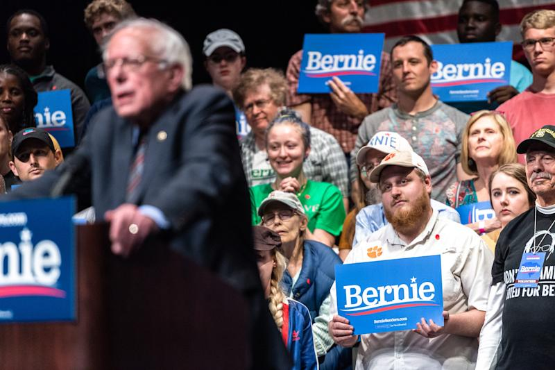Bernie Sanders, senator from Vermont, held a rally at the Peace Center in Greenville to promote his 2020 presidential campaign, Friday, Apr. 19, 2019.