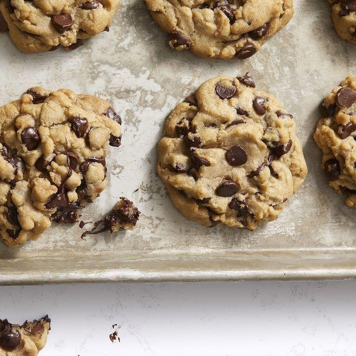 """<p>Yes, it's possible to achieve perfect chocolate chip cookies without butter or eggs. Don't forget your favorite dairy-free milk for dunking!</p><p><em><a href=""""https://www.goodhousekeeping.com/food-recipes/dessert/a30172161/vegan-chocolate-chip-cookies-recipe/"""" rel=""""nofollow noopener"""" target=""""_blank"""" data-ylk=""""slk:Get the recipe for Vegan Chocolate Chip Cookies »"""" class=""""link rapid-noclick-resp"""">Get the recipe for Vegan Chocolate Chip Cookies »</a></em></p>"""