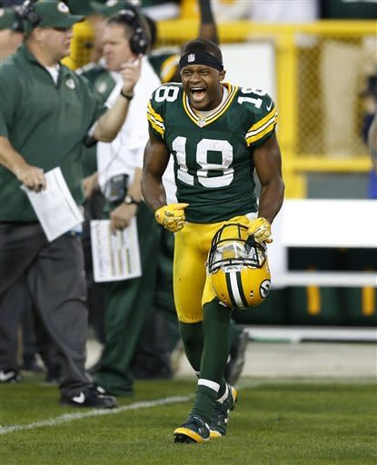 Green Bay Packers' Randall Cobb reacts after New Orleans Saints' Garrett Hartley missed a field goal during the fourth quarter of an NFL football game Sunday, Sept. 30, 2012, in Green Bay, Wis. The Packers won 28-27. (AP Photo/Tom Lynn)