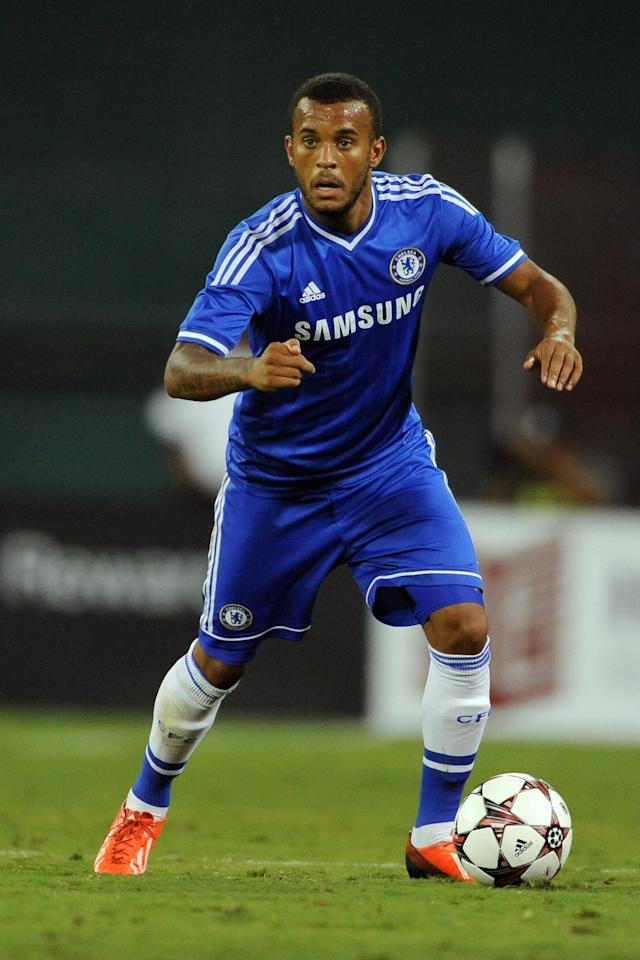 IMAGE DISTRIBUTED FOR RELEVANT SPORTS - Chelsea Defender Ryan Bertrand (34) dribbles the ball against Roma during a pre-season tour of the U.S, Saturday, August 10, 2013 in Washington DC. (Larry French/AP Images for Relevant Sports)