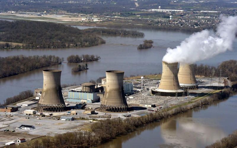 File-This April 18, 2018, file photo shows an aerial view of Three Mile Island, in Dauphin County, Pa. The shutdown of Three Mile Island, site of the United States' worst commercial nuclear power accident, is imminent. Exelon Corp. officials said the plant will stop producing electricity Friday, Sept. 20, 2019, following through on a decision the Chicago-based energy giant made in May after it became clear that it would not get a financial rescue from Pennsylvania.  (Richard Hertzler/LNP/LancasterOnline via AP, File)