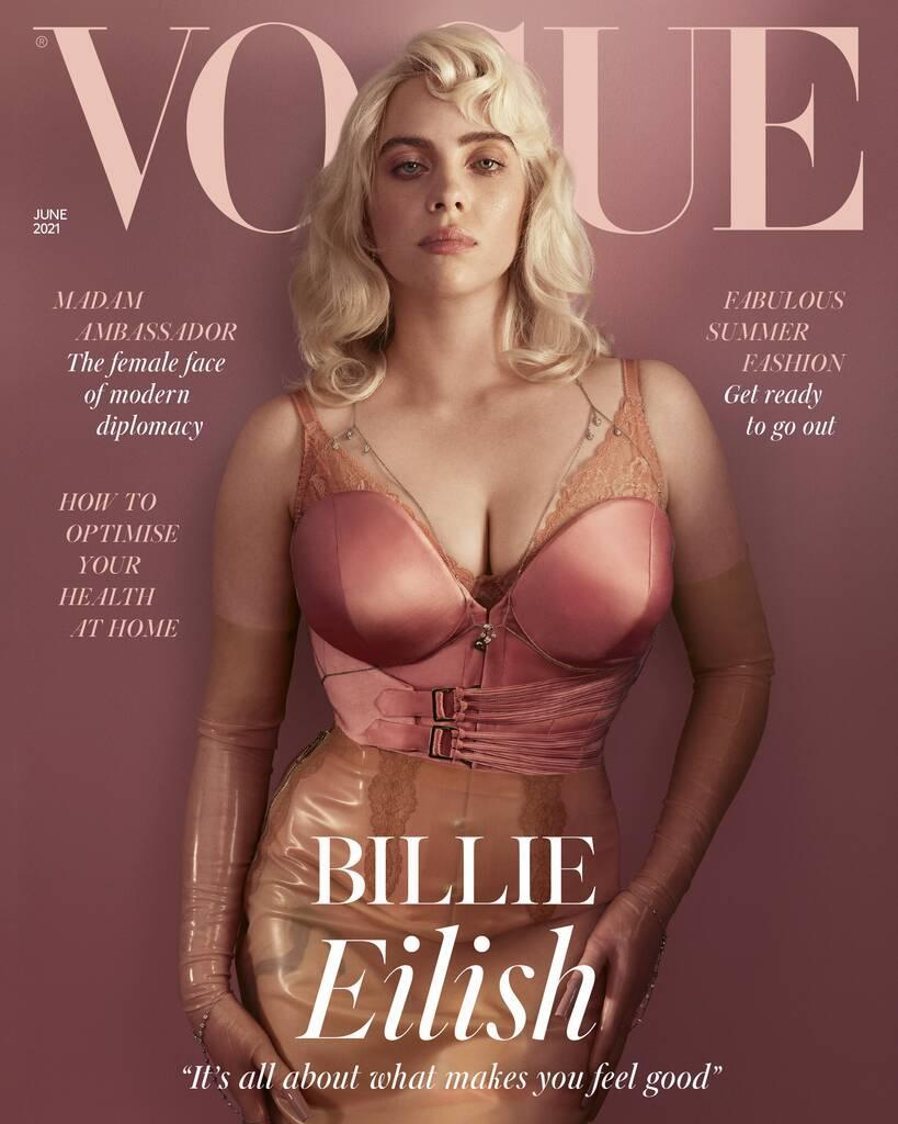"""Billie Eilish Transforms Into a Glamorous """"Pin-Up"""" in Jaw-Dropping British Vogue  Cover"""