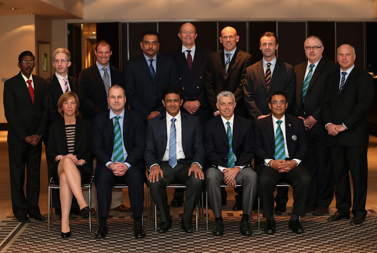 LONDON, ENGLAND - MAY 28:  (L-R) Sitting: Clare Connor; Geoff Allardice; Anil Kumble; David Richardson; Ranjan Madugalle; Standing: Laxman Sivaramakrishnan; David Kendix; Andrew Strauss; Ravi Shastri; Vince van der Bijl; Trent Johnston; John Stephenson; Clive Hitchcock and David White pose for a group photograph prior to the start of the ICC Cricket Committee meeting at Lord's on May 28, 2013 in London, England.  (Photo by Andrew Redington/Getty Images)
