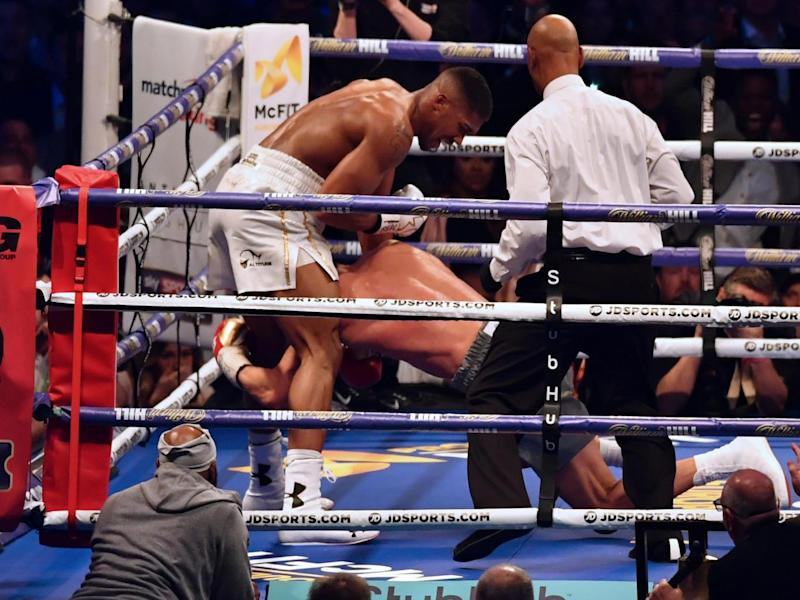 Joshua sent Klitschko down in the fifth (Getty)