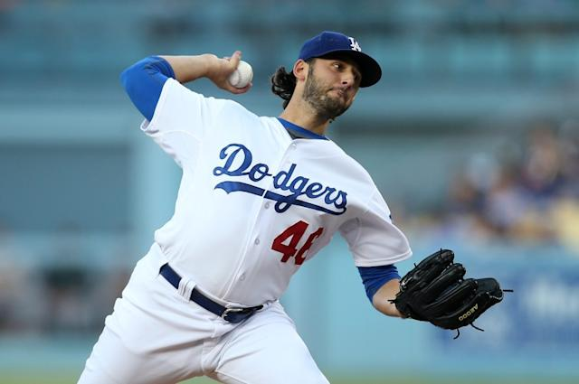 """Pitcher Mike Bolsinger during his stint with the Dodgers in 2016. <span class=""""copyright"""">(Stephen Dunn / Getty Images)</span>"""