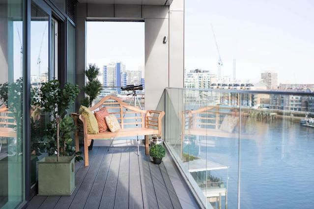 The balcony overlooks the Thames. (MyLo Fulham Riverside/Greystar/Movebubble)