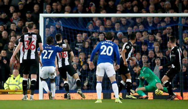 Everton's Moise Kean scores his side's first goal (Martin Rickett/PA)