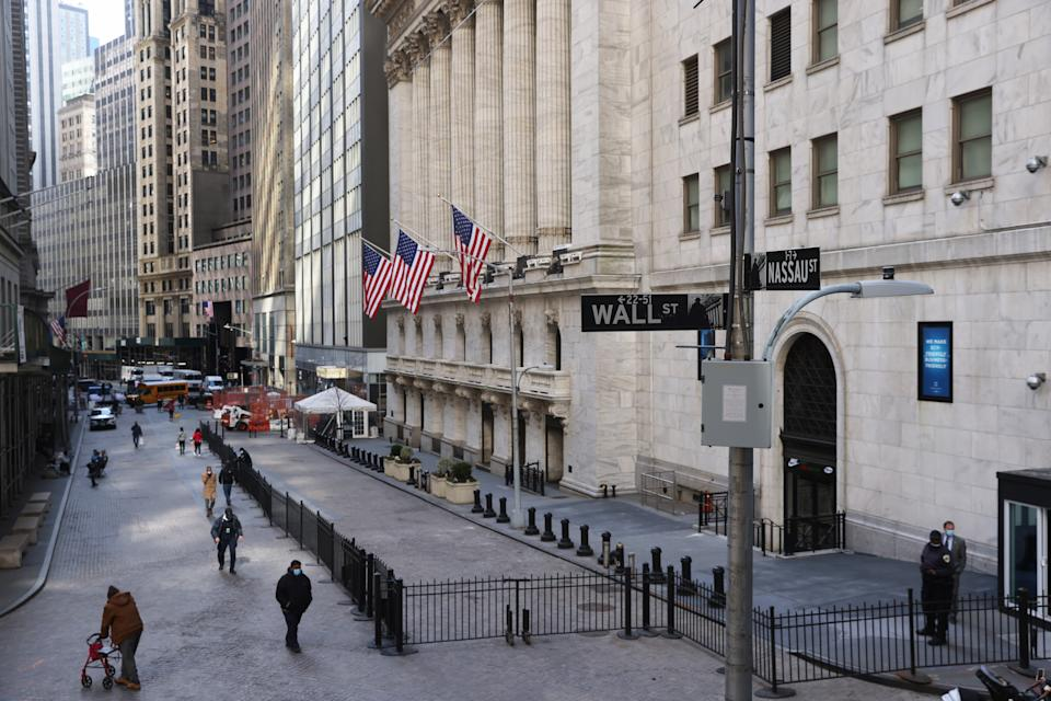 NEW YORK, NEW YORK - MARCH 09: The New York Stock Exchange (NYSE) stands in lower Manhattan on March 09, 2021 in New York City. The Dow Jones Industrial Average rallied more than 300 points Tuesday as tech stocks surged and optimism over the recently passed Covid relief bill cheered investors. (Photo by Spencer Platt/Getty Images)