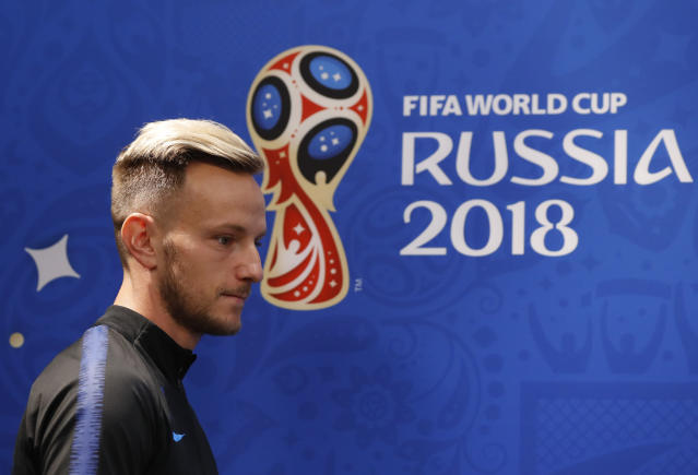 Croatia's Ivan Rakitic arrives for a press conference on the eve of the group D match between Croatia and Argentina in the Nizhny Novgorod stadium in Nizhny Novgorod, Russia, Wednesday, June 20, 2018. (AP Photo/Petr David Josek)