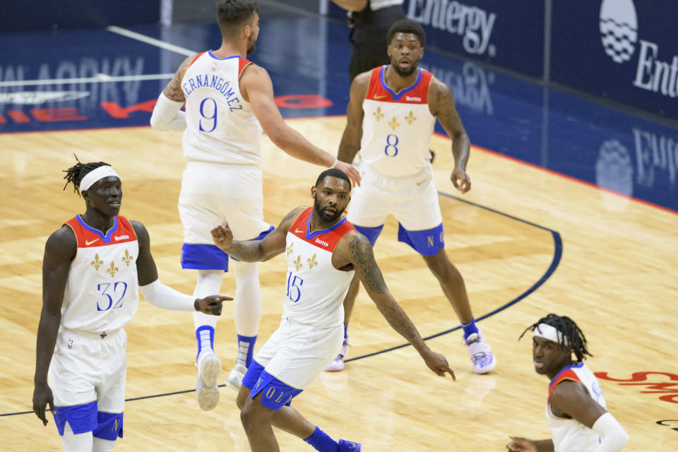 New Orleans Pelicans guard Sindarius Thornwell (15) moves down the court in the second half of an NBA basketball game against the Cleveland Cavaliers in New Orleans, Friday, March 12, 2021. (AP Photo/Matthew Hinton)