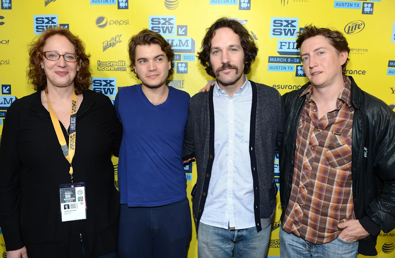 "AUSTIN, TX - MARCH 09:  (L-R) Janet Pierson, producer SXSW Film Festival, aJanet Pierson, producer SXSW Film Festival,ctor Emile Hirsch, actor Paul Rudd and director David Gordon Green arrive to the screening of ""Prince Avalanche"" during the 2013 SXSW Music, Film + Interactive Festival at The Paramount Theatre on March 9, 2013 in Austin, Texas.  (Photo by Michael Buckner/Getty Images)"