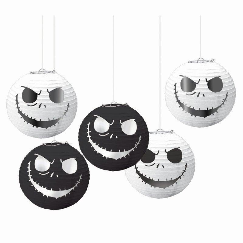 """<p>If you want <a href=""""https://www.popsugar.com/smart-living/nightmare-before-christmas-squishmallows-48468990"""" class=""""link rapid-noclick-resp"""" rel=""""nofollow noopener"""" target=""""_blank"""" data-ylk=""""slk:A Nightmare Before Christmas Halloween decorations""""><strong>A Nightmare Before Christmas</strong> Halloween decorations</a>, these <span>Amscan Halloween Lanterns</span> ($17) would make great additions to your dorm. The black and white Jack Skellington lanterns add a spooky ambiance to your room - just throw in tea lights to complete the vibe.</p>"""