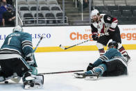 Arizona Coyotes right wing Phil Kessel (81) scores against the San Jose Sharks during overtime in an NHL hockey game in San Jose, Calif., Saturday, May 8, 2021. The Coyotes won 5-4. (AP Photo/John Hefti)