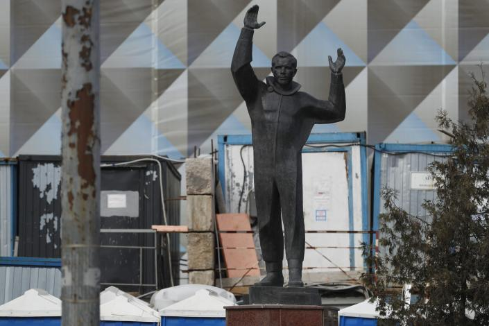 The statue of Yuri Gagarin, the first person who flew to space in Moscow, Russia, Tuesday, March 30, 2021. For the Soviet people, Gagarin's flight was a triumph comparable to the WW II victory. From a giant statue towering over Moscow to a more modest monument on the Sakhalin Island in the Pacific Ocean, dozens of memorials across Russia commemorate Yuri Gagarin, the cosmonaut who became the first person in space on April 12, 1961, 60 years ago. (AP Photo/Pavel Golovkin)