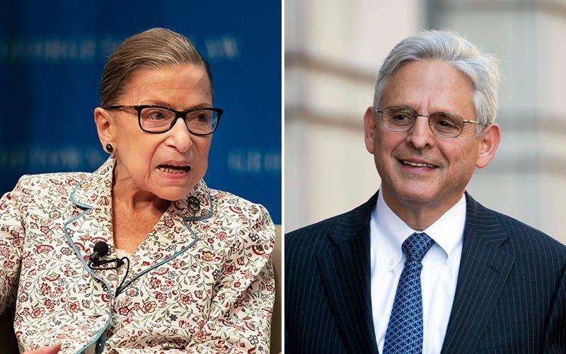 The late Supreme Court Justice Ruth Bader Ginsburg and President Barack Obama's 2016 Supreme Court nominee, Judge Merrick Garland.