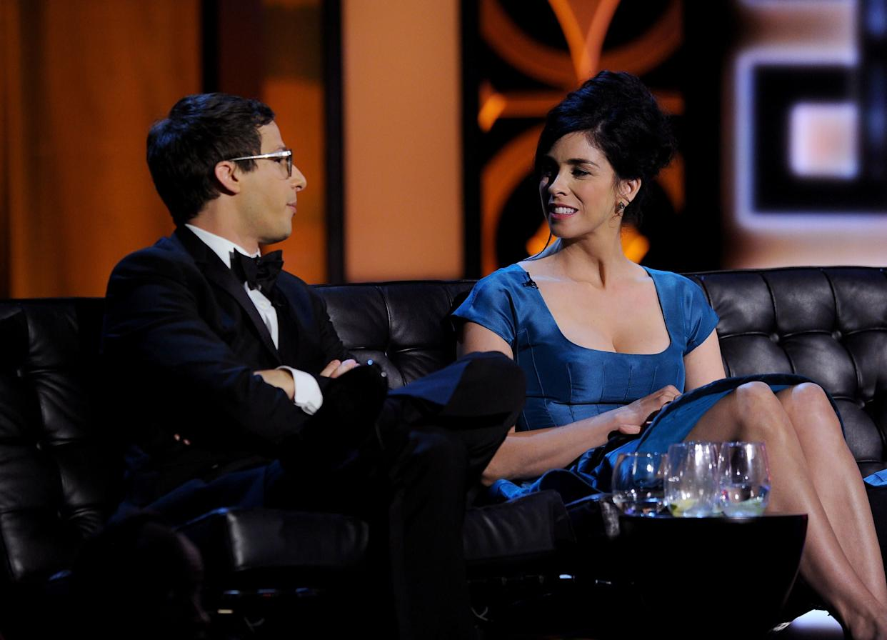 CULVER CITY, CA - AUGUST 25: Actor Andy Samberg and comedienne Sarah Silverman onstage during The Comedy Central Roast of James Franco at Culver Studios on August 25, 2013 in Culver City, California. The Comedy Central Roast Of James Franco will air on September 2 at 10:00 p.m. ET/PT. (Photo by Kevin Winter/Getty Images for Comedy Central)