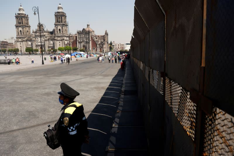 FILE PHOTO: Mexico City erects barricades ahead of expected violence in Women's Day march
