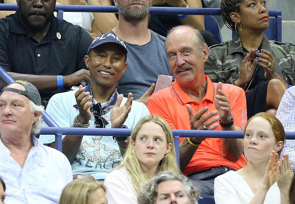 Pharrell Williams and Stan Smith attend Day 10 of the 2016 U.S. Open at the USTA Billie Jean King National Tennis Center on Sept. 7, 2016, in the Queens borough of New York City. (Photo: Jean Catuffe/GC Images)