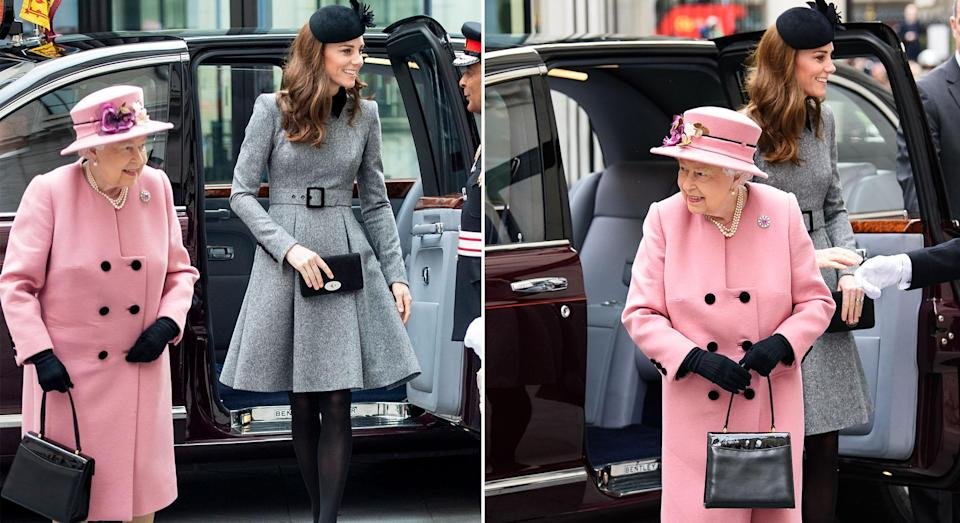 Kate and the Queen on a joint engagement together at King's College London [Photo: Getty]