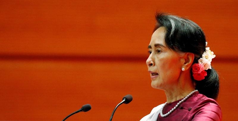 Myanmar State Counselor Aung San Suu Kyi delivers a speech in Naypyitaw, Myanmar. on Sept. 19.