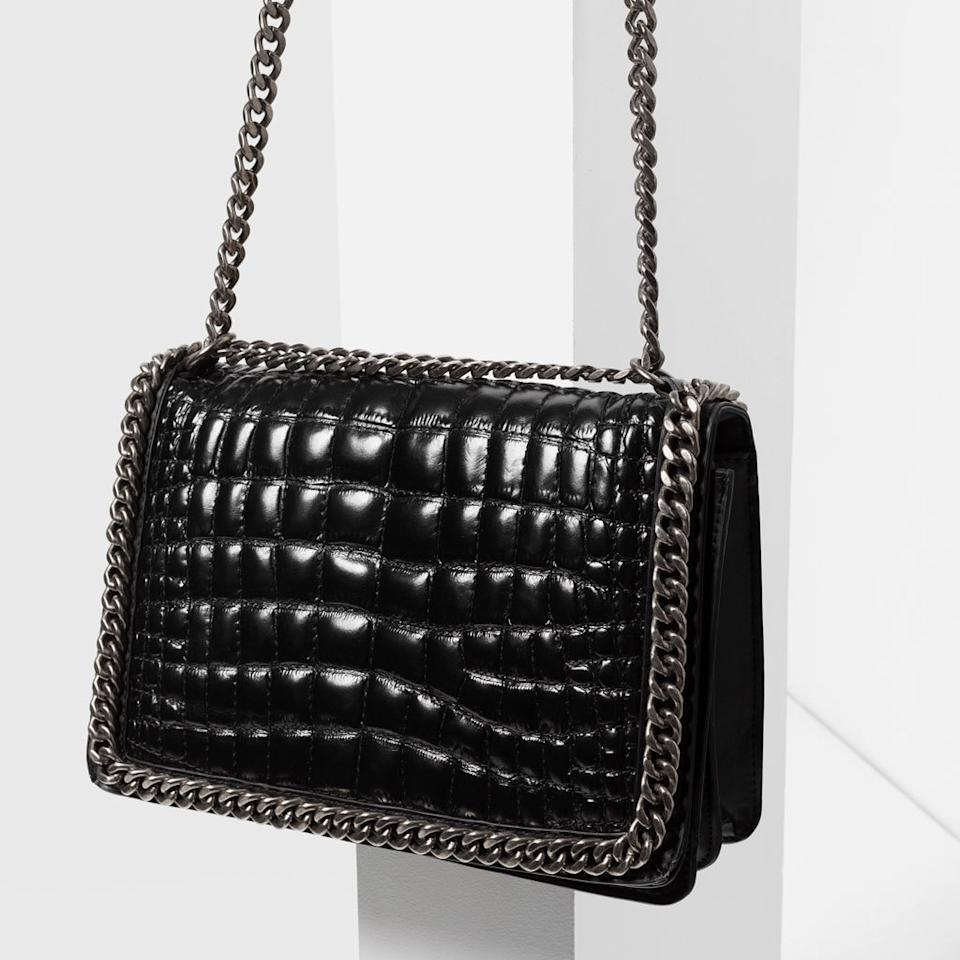 "<p>This sleek croc print bag with chain detail is pretty much perfect for everyday use.<i><a href=""http://www.zara.com/uk/en/woman/bags/view-all/chain-city-bag-c719532p3212059.html""> [Zara, £89.99]</a></i></p>"