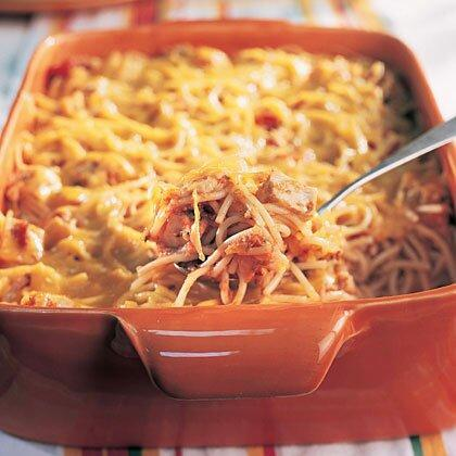 """<p>You can cover and refrigerate the <a href=""""https://www.myrecipes.com/casserole-recipes/"""" rel=""""nofollow noopener"""" target=""""_blank"""" data-ylk=""""slk:casserole"""" class=""""link rapid-noclick-resp"""">casserole</a> overnight, and sprinkle with cheese before baking. Bake at 350° for 25 minutes until bubbly. </p><p><a href=""""https://www.myrecipes.com/recipe/cheesy-chicken-spaghetti"""" rel=""""nofollow noopener"""" target=""""_blank"""" data-ylk=""""slk:Cheesy Chicken Spaghetti Recipe"""" class=""""link rapid-noclick-resp"""">Cheesy Chicken Spaghetti Recipe</a></p>"""