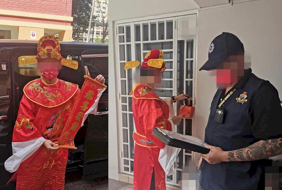 The company said that the God of Wealth was there to 'give luck' to its debtors. — Pictures via Facebook/FastDebtRecovery