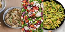 """<p>Peas. They're sweet, easy to cook with and can elevate your meal within a matter of seconds. But what type of recipes can you use them in? You can make anything from <a href=""""https://www.delish.com/uk/cooking/recipes/a35291295/artichoke-pea-risotto/"""" rel=""""nofollow noopener"""" target=""""_blank"""" data-ylk=""""slk:Artichoke & Pea Risotto"""" class=""""link rapid-noclick-resp"""">Artichoke & Pea Risotto</a> (a firm favourite) to <a href=""""https://www.delish.com/uk/cooking/recipes/a31327399/split-pea-soup-recipe/"""" rel=""""nofollow noopener"""" target=""""_blank"""" data-ylk=""""slk:Split Pea Soup"""" class=""""link rapid-noclick-resp"""">Split Pea Soup</a>, and <a href=""""https://www.delish.com/uk/cooking/recipes/a31987376/pea-salad-recipe/"""" rel=""""nofollow noopener"""" target=""""_blank"""" data-ylk=""""slk:Bacon Pea Salad"""" class=""""link rapid-noclick-resp"""">Bacon Pea Salad</a> to <a href=""""https://www.delish.com/uk/cooking/recipes/a35706548/spinach-pesto-penne-with-shrimp-and-peas-recipe/"""" rel=""""nofollow noopener"""" target=""""_blank"""" data-ylk=""""slk:Spinach Pesto Penne with Prawns and Peas"""" class=""""link rapid-noclick-resp"""">Spinach Pesto Penne with Prawns and Peas</a>. </p><p>Whether it's the star of the show, or just there to work its magical sweetness, peas are a versatile and healthy ingredient, and we love 'em! So, if you're looking for some pea-inspiration, take a look at some of our insanely-easy pea recipes. </p>"""