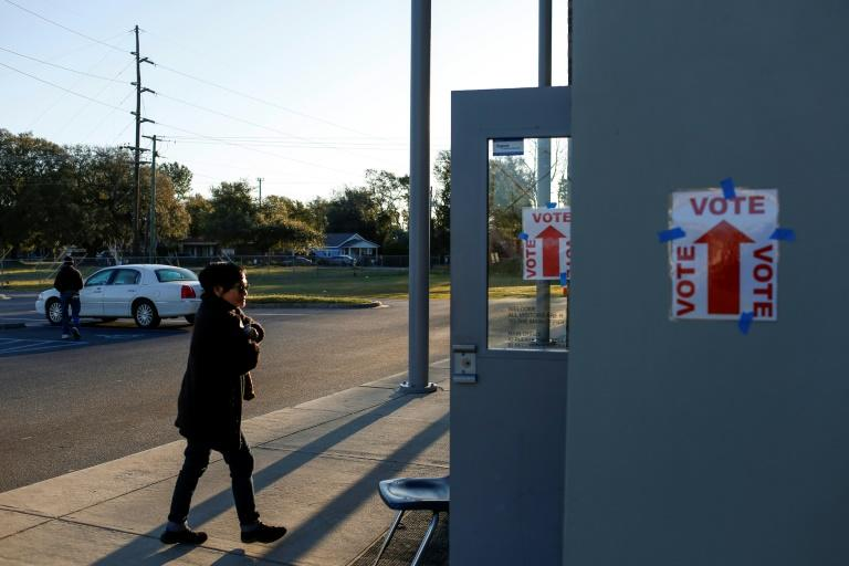 A voter arrives at a polling station located at Mary Ford Elementary School in North Charleston, South Carolina, on February 29, 2020 (AFP Photo/Joshua Lott)