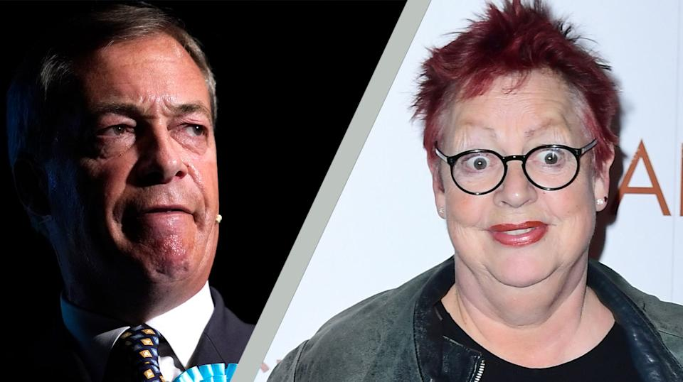 Nigel Farage has accused Jo Brand of inciting violence following a joke she made on the radio (Credit: Getty Images/PA)