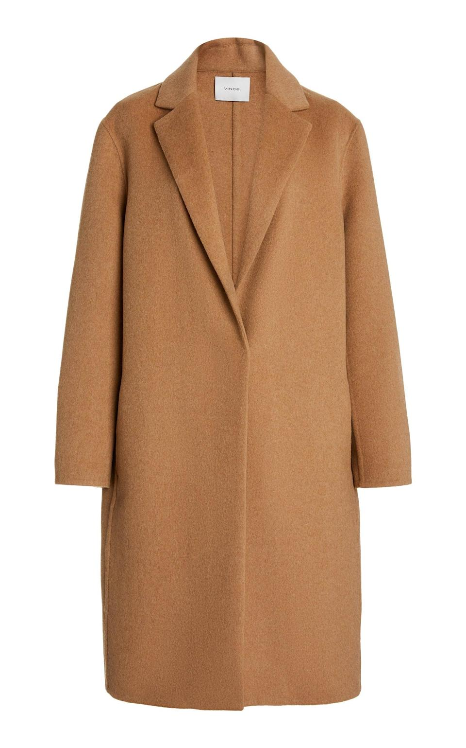 <p>This <span>Vince Classic Wool-Blend Coat</span> ($521, originally $695) is an iconic piece that is seasonless and classic. We'd wear it with everything, from day to night.</p>