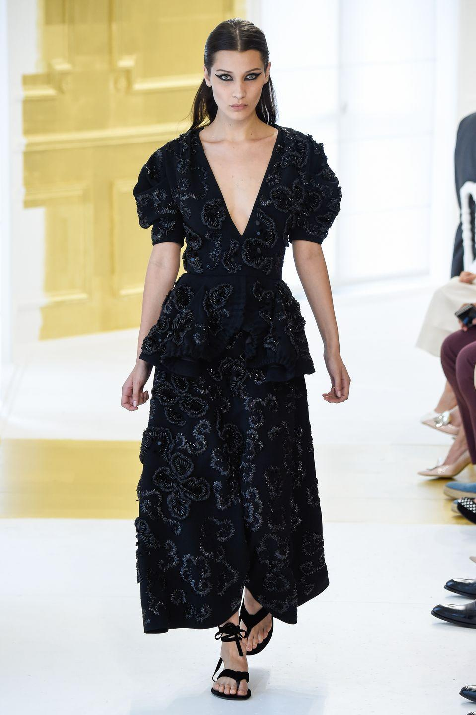 <p>Bella Hadid on the Christian Dior Haute Couture AW16 runway. </p>