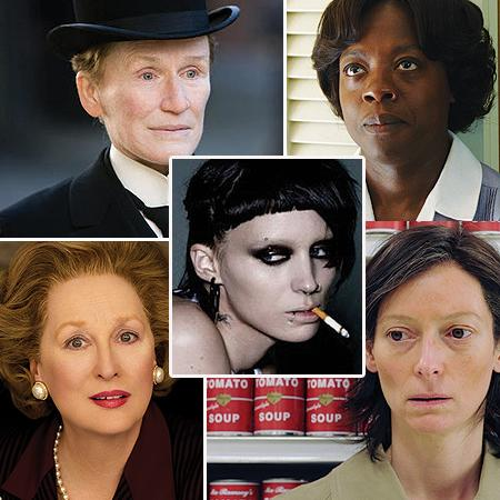 <p><b>BEST PERFORMANCE BY AN ACTRESS IN A MOTION PICTURE - DRAMA</b> <br> <b>NOMINEES:</b> <br>Glenn Close - Albert Nobbs <br>Viola Davis - The Help <br>Rooney Mara - The Girl With The Dragon Tattoo <br>Meryl Streep - The Iron Lady <br>Tilda Swinton - We Need To Talk About Kevin</p>