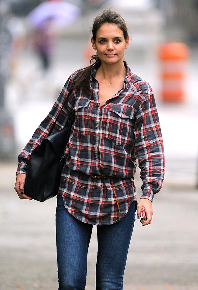 Katie Holmes seen going for a walking in East Village after leaving a Bowery Hotel in New York City.