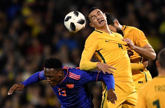 Soccer Football - International Friendly - Australia vs Colombia - Craven Cottage, London, Britain - March 27, 2018 Australia's Tim Cahill in action with Colombia's Yerry Mina Action Images via Reuters/Tony O'Brien