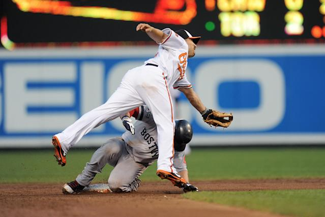 BALTIMORE, MD - AUGUST 16: Nick Punto #5 of the Boston Red Sox slides into second base under Omar Quintanilla #35 of the Baltimore Orioles on a wild pitch during a baseball game on August 16, 2012 at Oriole Park at Camden Yards in Baltimore, Maryland. (Photo by Mitchell Layton/Getty Images)