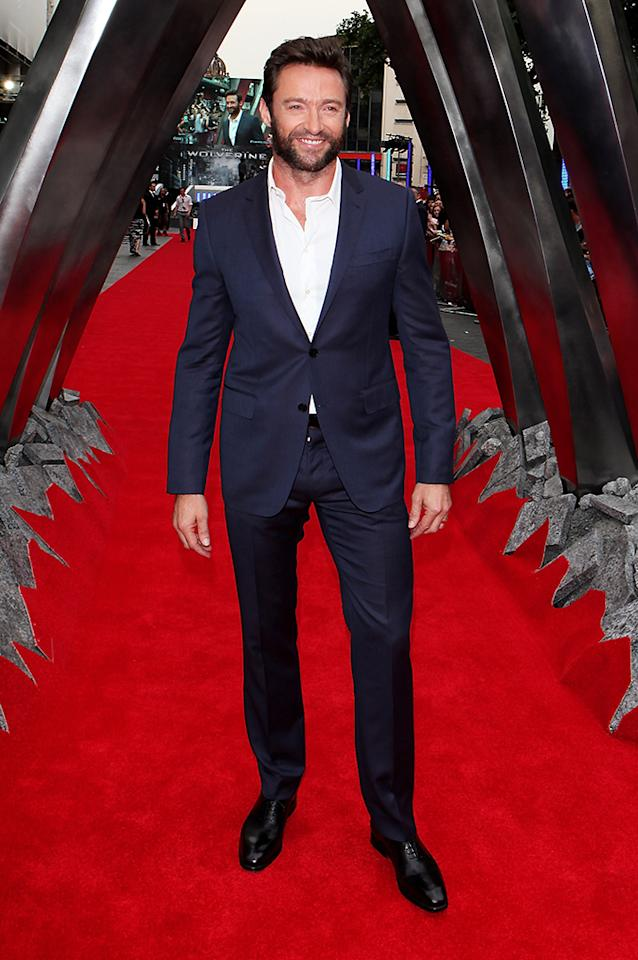 LONDON, ENGLAND - JULY 16:  (EMBARGOED FOR PUBLICATION IN UK TABLOID NEWSPAPERS UNTIL 48 HOURS AFTER CREATE DATE AND TIME. MANDATORY CREDIT PHOTO BY DAVE M. BENETT/WIREIMAGE REQUIRED)  Hugh Jackman attends the UK Premiere of 'The Wolverine' at Empire Leicester Square on July 16, 2013 in London, England.  (Photo by Dave M. Benett/WireImage)