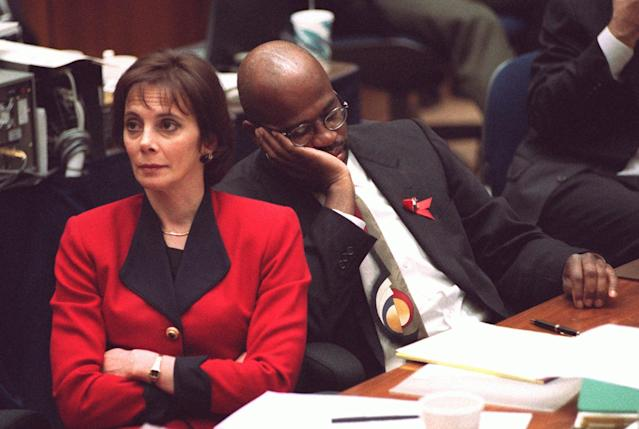 "<p>While O.J. Simpson had his ""dream team"" of attorneys, the prosecutors quickly became household names, too, thanks to the daily televised coverage. The team was led by Marcia Clark and Christopher Darden. (Photo: Vince Bucci/AP) </p>"