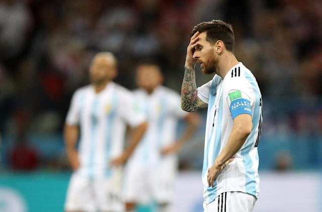 Lionel Messi of Argentina looks dejected following his sides defeat in the 2018 FIFA World Cup Russia group D match between Argentina and Croatia at Nizhny NovgorodStadium on June 21, 2018 in Nizhny Novgorod, Russia. (Getty Images)