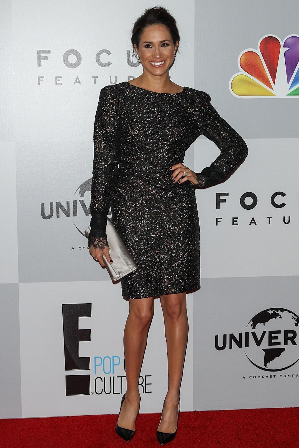 <p>Tenue pailletée pour Meghan lors de l'after party des Golden Globes en 2013.<br><em>[Photo : Getty]</em> </p>