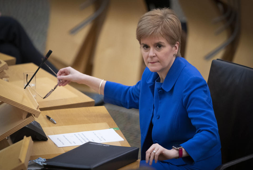EDINBURGH, SCOTLAND - NOVEMBER 12: Scottish First Minister Nicola Sturgeon attends First Minister's Questions at the Scottish Parliament on November 12, 2020 in Edinburgh, Scotland. (Photo by Jane Barlow - Pool/Getty Images)