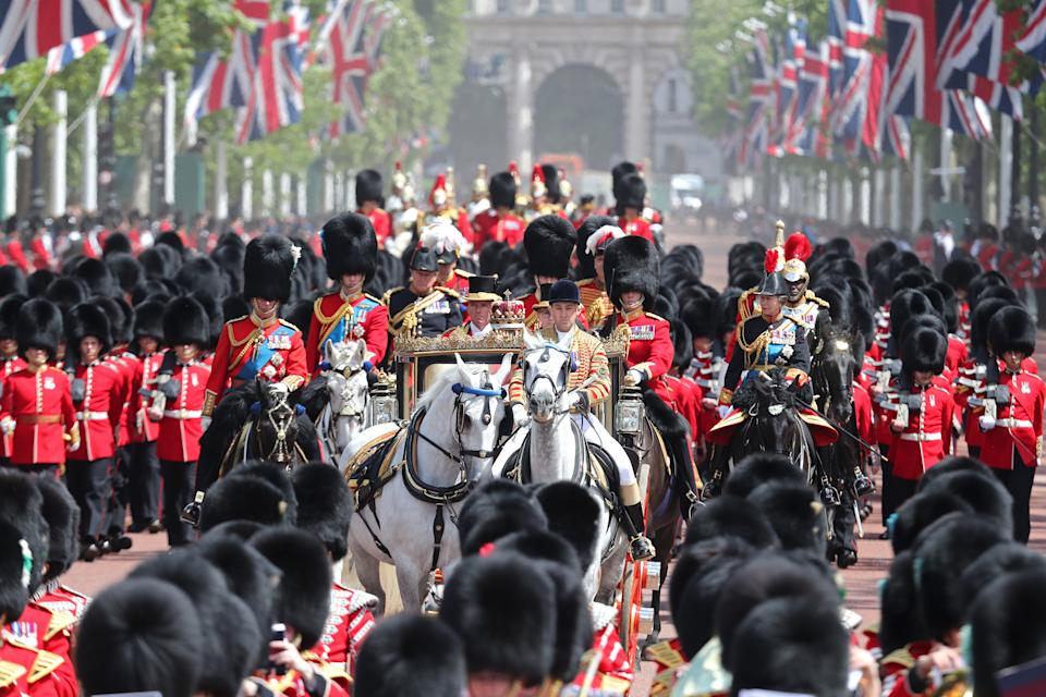LONDON, ENGLAND - JUNE 08: Trooping The Colour, the Queen's annual birthday parade, on June 08, 2019 in London, England. (Photo by Chris Jackson/Getty Images)