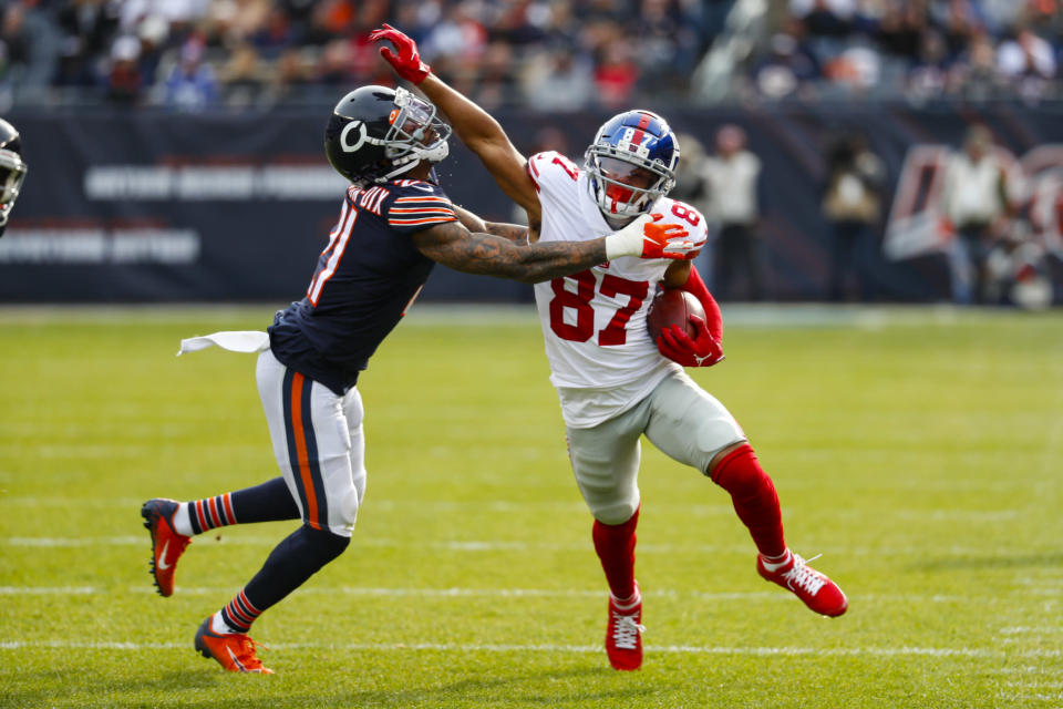 New York Giants wide receiver Sterling Shepard (87) pushes off Chicago Bears strong safety Ha Ha Clinton-Dix (21) after a catch during the first half of an NFL football game in Chicago, Sunday, Nov. 24, 2019. (AP Photo/Paul Sancya)