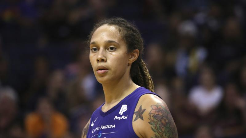 Phoenix Mercury center Brittney Griner pauses on the court during the second half of a WNBA basketball game against the Seattle Storm Tuesday, Sept. 3, 2019, in Phoenix. The Storm defeated the Mercury 82-70. (AP Photo/Ross D. Franklin)