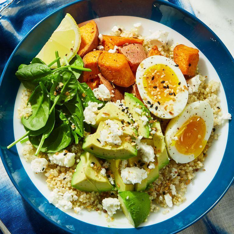 """<p>So much yumminess (avos! Sweet taters! Cheese!), plus a double-whammy of protein: quinoa and eggs. (An aside for avo lovers: Do you have this <a href=""""https://www.amazon.com/OXO-Good-Grips-Avocado-Slicer/dp/B0088LR592/"""" target=""""_blank"""">OXO slicer</a>, beloved on amazon? No? Go!) </p><p><em><a href=""""https://www.delish.com/cooking/recipe-ideas/a25621755/avocado-breakfast-bowls-recipe/"""" target=""""_blank"""">Get the recipe from Delish <em>»</em></a></em></p><p><a class=""""body-btn-link"""" href=""""https://www.amazon.com/OXO-Good-Grips-Avocado-Slicer/dp/B0088LR592/?tag=syn-yahoo-20&ascsubtag=%5Bartid%7C2141.g.27798176%5Bsrc%7Cyahoo-us"""" target=""""_blank"""">SHOP OXO SLICER</a></p>"""