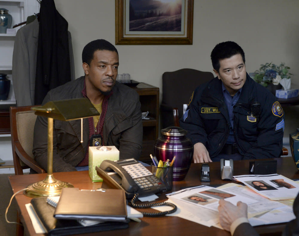<p>Russell Hornsby as Hank Griffin, Reggie Lee as Sergeant Wu (Photo by: Allyson Riggs/NBC) </p>