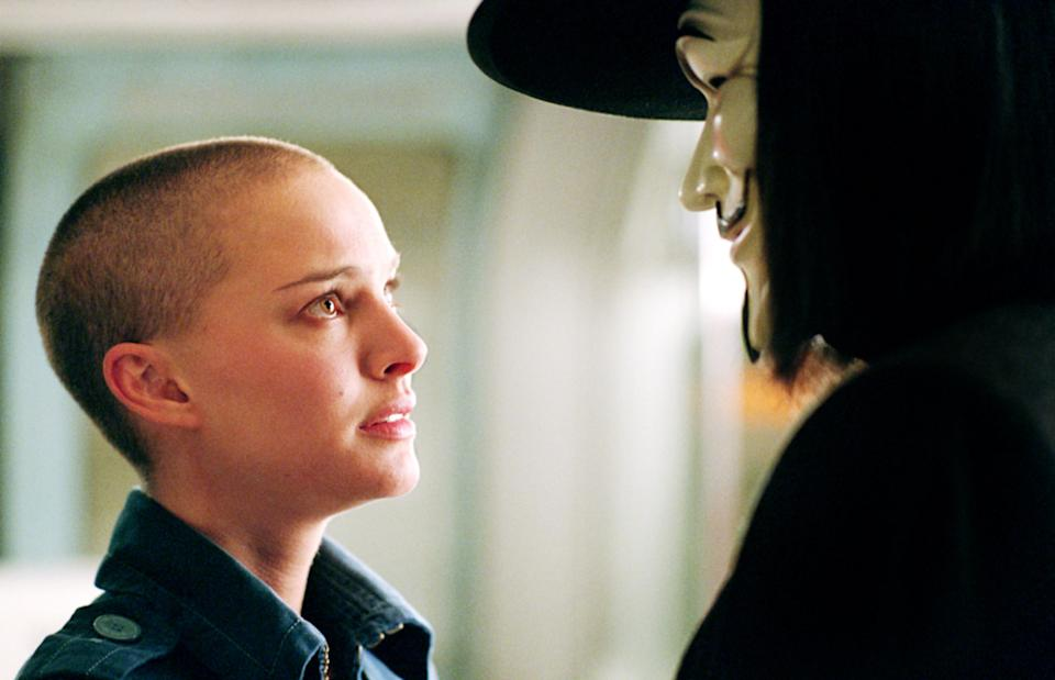 Natalie Portman as Evie and Weaving as V in 'V for Vendetta' (Photo: Warner Bros./courtesy Everett Collection)