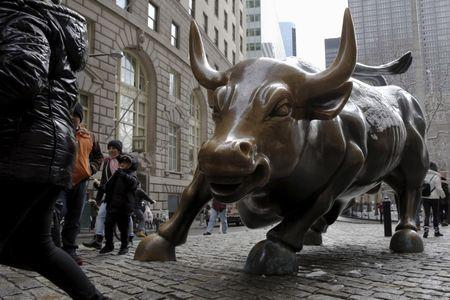 """A bronze """"Charging Bull"""" statue is seen in New York's financial district March 4, 2016. REUTERS/Brendan McDermid"""