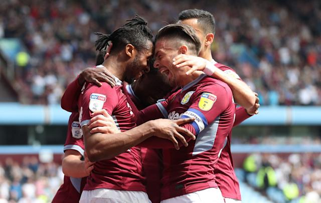 Aston Villa's Jonathan Kodjia celebrates with his team mates after he scores to put his side 1-0 up Aston Villa v Millwall - Sky Bet Championship - Villa Park 22-04-2019 . (Photo by Bradley Collyer/EMPICS/PA Images via Getty Images)