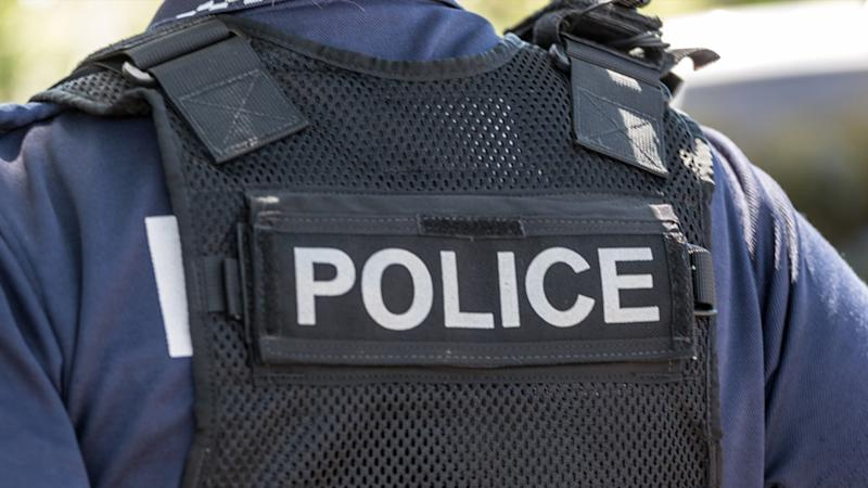 A stock image of a police officer wearing a vest with the word 'police' printed on it.